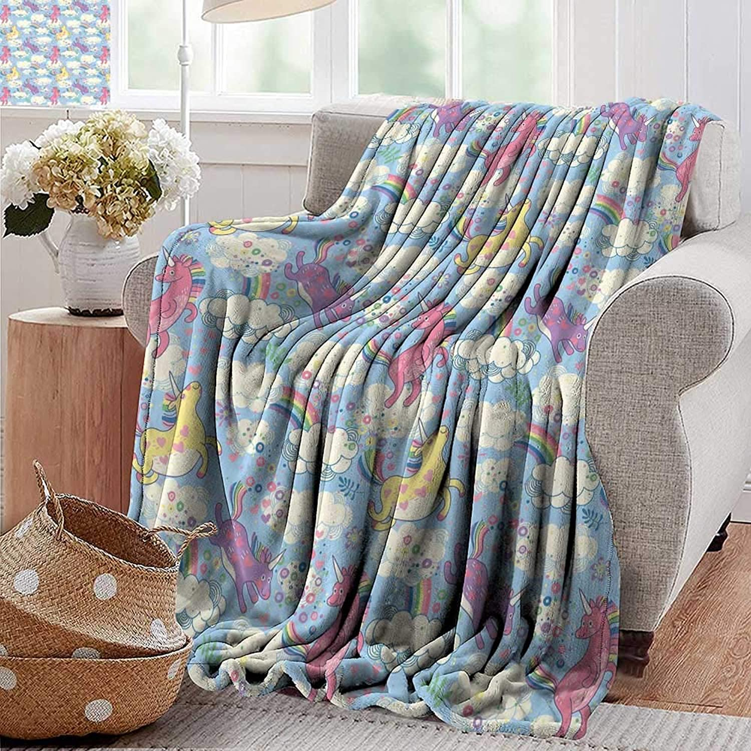 PearlRolan Throw Blanket,Rainbow,Cute Unicorns on The Sky with Rainbows Pouring from Cloud to Cloud Girls Print,Multicolor,Sofa Super Soft, Plush, Fuzzy Microfiber Throw Reversible,Comfy 35 x60