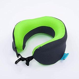 U字型トラベルピローメモリーフォーム快適ソフトネックピローラグジュアリーライトキャンプバッグ,Green