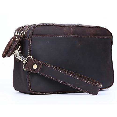 4eb106dd4 Polare Full Grain Leather Men Purse Wallet Clutch Pouch Handbag Wrist Bag  Shoulder Bag
