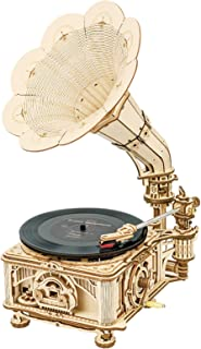 ROKR 3D Wooden Puzzle Hand Cranked Retro Phonograph Vintage Style Craft Model Kits Gramophone Antique Decoration for Home ...