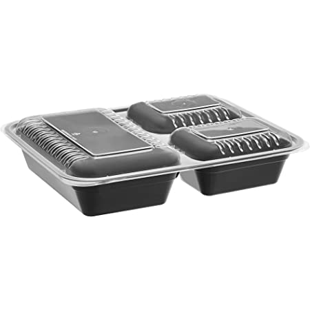 Amazon Basics 3 Compartment Meal Prep Containers - BPA Free, Microwave/Dishwasher/Freezer Safe, 36 ounces, 15-Pack