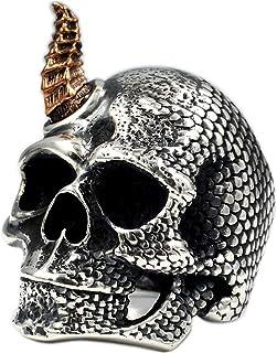 LH&BD Anello di Unicorno Skull 925 Argento Sterling Handmade Retro Punk Fashion MOX Motorcycle Style Anello da Uomo,21