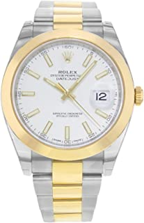 Datejust 41 White Dial Steel and 18K Yellow Gold Rolex Oyster Mens Watch 126303WSO