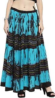 Geroo Women's Pure Cotton Bandhani and shiburi Print Skirt