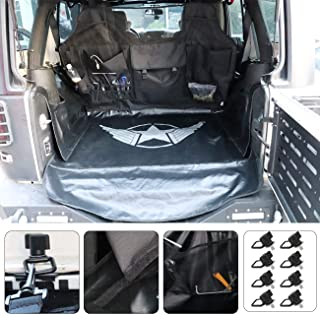 AUFER (1 Year Warranty) Multipurpose Rear Seat Cover with Organizer Storage Bag,Pet Dog Backseat Obstacle Barrier Pet Divider and pet seat Proof Covers for Jeep Wrangler JK JL 4 Door