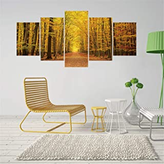 Leofanger 5 Piece Fall Forest Wall Decals Forest Tree Leaves Wall Mural Stickers Landscape Self Adhesive Wallpaper Painting Wall Art Peel and Stick Poster Removable Home Decor for Bedroom Living Room