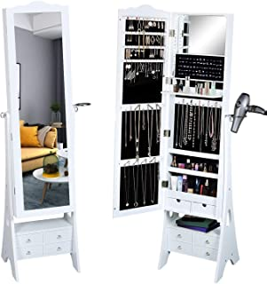 Fridaydiscount Standing Jewelry Organizer Armoire with LED Lights, Full Length Mirror Jewelry Cabinet, Large Capacity, 3 Beveled Angles and 6 Drawers, Hair-Dryer Rack (White)