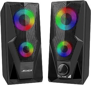 PC luidspreker ARCHEER USB Computer Speaker multimedia 2.0 stereo 10 W volume bediening met LED verlichting voor tablet la...
