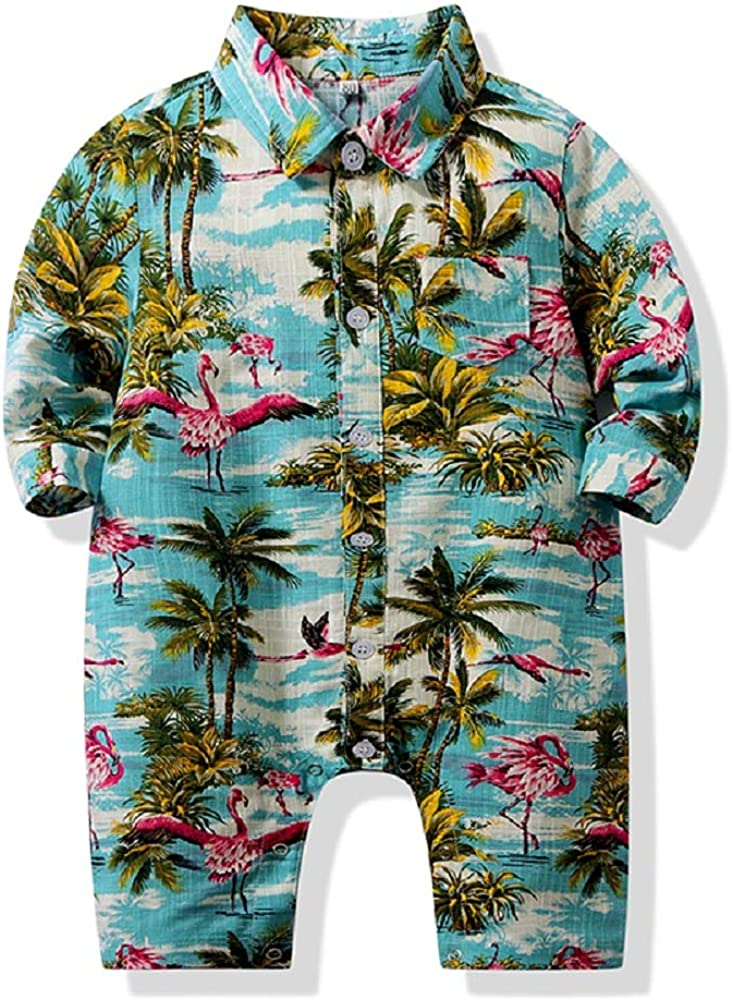Tommelise Toddler Baby Boys Onesies Summer Casual Outfits Hawaiian Style Floral One-Piece Romper