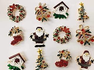Set of 12 Vintage Christmas Brooch Lot/ Holiday Brooch / Christmas Tree/ Snowman/ Xmas Pin Lot / Party Favor/ Rhinestone Christmas