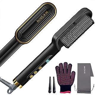 برس کوچک سر موی سرامیکی - صفحه نمایش برس مو صاف کننده آنیون ، برس موی گرم شونده سریع با تنظیمات 9 درجه حرارت ، شانه موی صاف کننده مو برای زنان ، خانه ، مسافرت و سالن (طلایی)