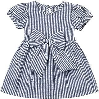Toddler Infant Baby Girls Dress Kid Girl Striped Bowknot Short Sleeve Princess Dress Skirt Set