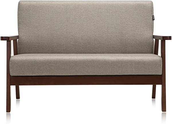 Krei Hejmo Vintage Brown Wooden Low Seat Armchairs Sofa Couch With Fabric Two Seater Dark Brown Wood Light Brown Fabric