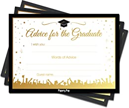 Papery Pop 2019 Graduation Advice Cards for The Graduate (30 Count) - High School or College Graduation Party Games Activities Invitations Decorations Supplies