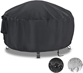Onlyme Fire Pit Cover, Waterproof,Windproof,Fire Pit Table Cover for Outdoor and Indoor - Black (Round: 60''Dia x 23''H, R...