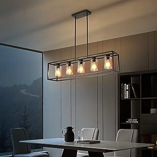 5 Light Farmhouse Kitchen Light, Black Industrial...