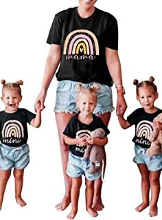 GOSOPIN Mommy and Me Blouse Letters T-Shirt Family Matching Mothers Tops Mom