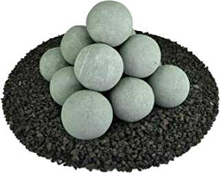 Ceramic Fire Balls   Set of 14   Modern Accessory for Indoor and Outdoor Fire Pits or Fireplaces – Brushed Concrete Look   Pewter Gray, 4 Inch