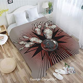 AngelDOU Portable Car Air Conditioner Blanket W59 xL78 Bowling Ball Crashing Into Pins Retro Blast Effect Sketchy Decorative for Home Couch Outdoor Travel.