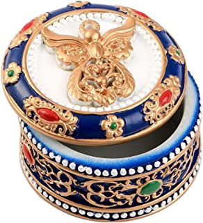 """Fashiocraft Angel Ornate with Gold Accents Rosary Box - 2 5/8"""" Trinket Box for Rosary Beads, Keepsakes, Small Jewelry and Mementos"""