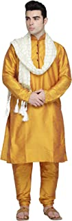 Men's Tunic Art Silk Kurta Pajama and Scarf Set