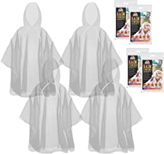 The Clean Explorer Disposable Rain Ponchos with Hood and Drawstring: Extra Thick (Adult and Child Sizes)