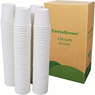 CantaGreen 3 OZ Paper Bath Cups,300 Count Heavyduty White Cup