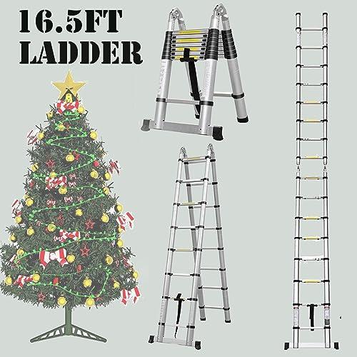 wholesale Aluminium outlet sale Telescopic Ladder 16.5Ft Portable Foldable A-Frame Extension sale Extendable Ladder (2.5m+2.5m) online sale
