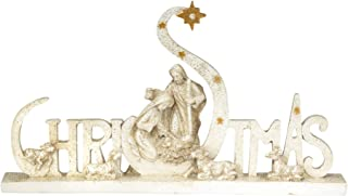 Dicksons Christmas Holy Family Glitter Speckled Goldtone 6 inch Resin Decorative Tabletop Sign