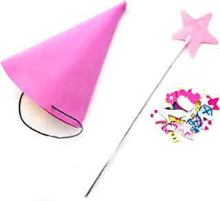 Princess Fairy Cone Hat with Veil for Birthday Party Pretend Play Craft- Pink