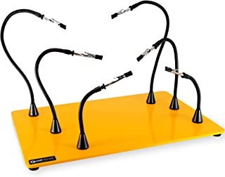 QuadHands Jumbo Workbench - Helping Hands Third Arm Soldering Work Station   EXtra Large & Heavy No Tip Base Plate   6 Flexible Magnetic Arms with Precision 360 Degree Alligator Clip   Made In USA