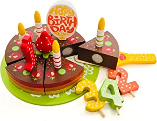 Bee Smart Wooden Toy Play Birthday Cake Set - Wooden Pretend Play Food Toy - 18 Pieces Including Wooden Cake Server, Wooden Plate, Wooden Candles, Wooden Fruit and Decorations - Rainbow Design