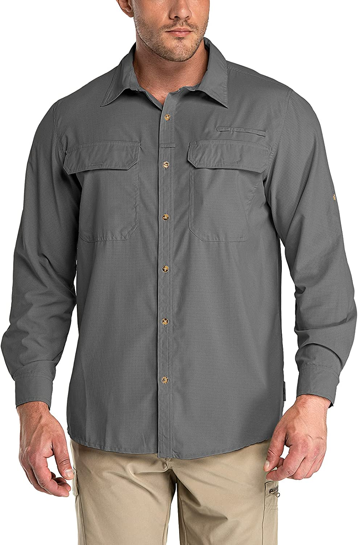 33,000ft Men's Long Sleeve Sun Protection Shirt UPF 50+ UV Quick Dry Cooling Fishing Shirts for Travel Safari Camping Hiking