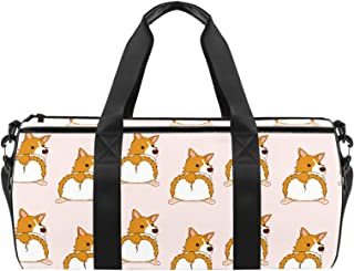 EGGDIOQ Corgi Dog Puppy Designed Fashion Travel Duffel Bag Luggage Handbag Gym Sports Tote Bags for Man Women with Wet Pocket