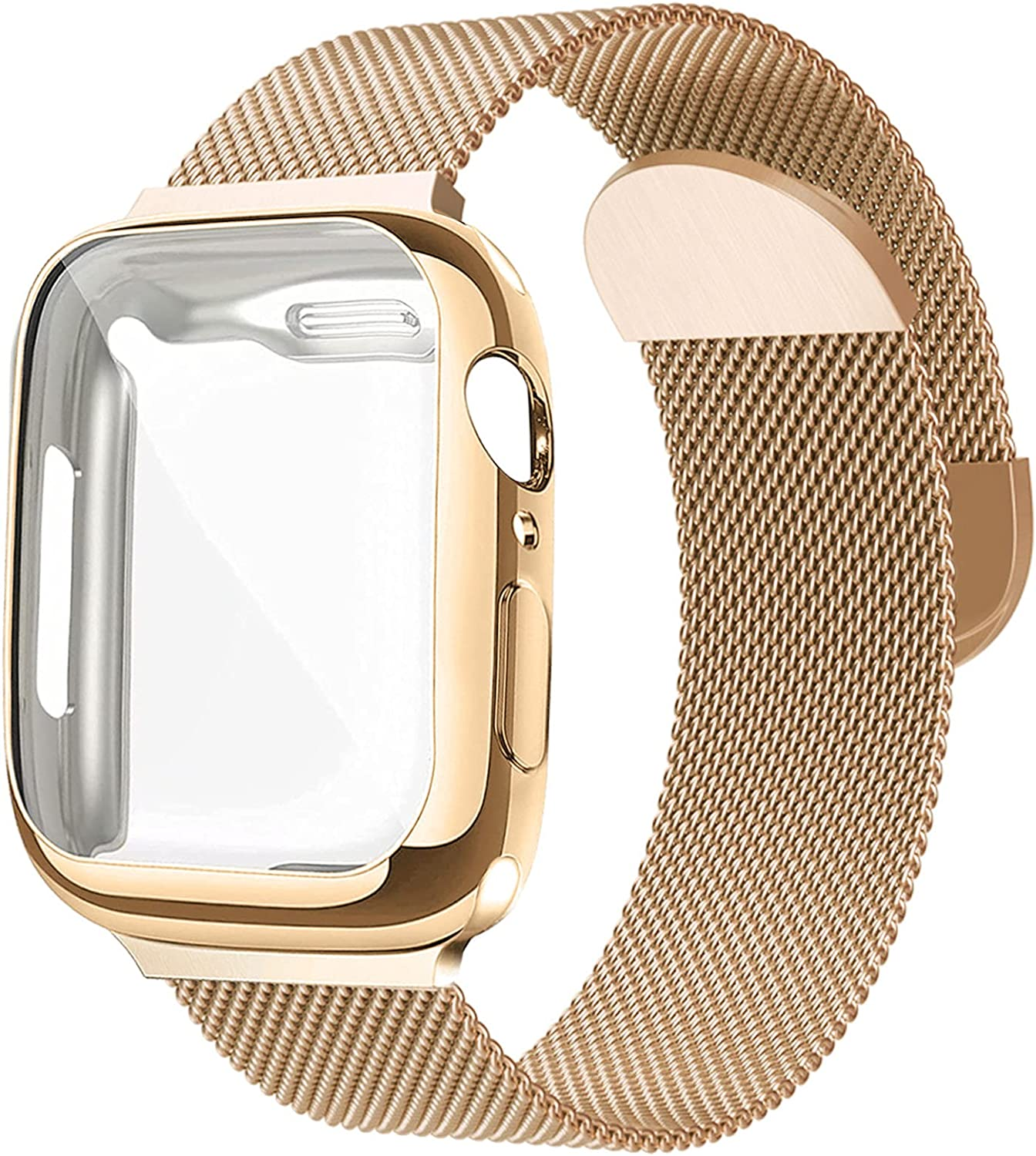 Metal Mesh Magnetic Band with Case Compatible with Apple Watch Bands 40mm,Sport Adjustable Stainless Steel Closure Milanese Loop Strap for Women Men Compatible for iWatch Series SE/6/5/4,Gold