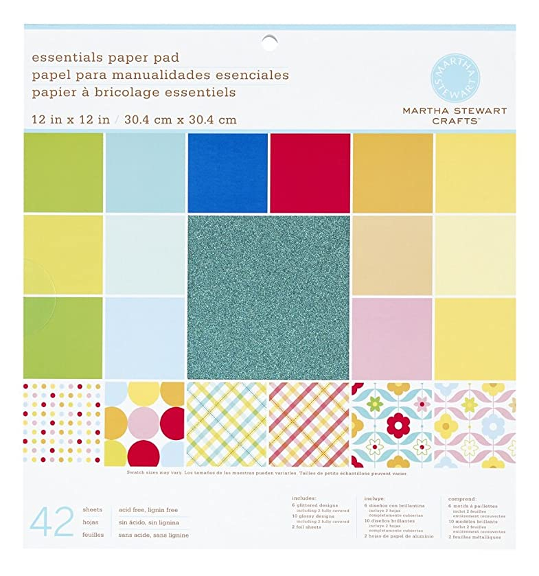 Martha Stewart Crafts Paper Pad, Brights, 12 by 12 inches, 42 Sheets