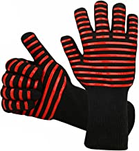 BBQ Gloves 1472℉ Extreme Heat Resistant Grill Gloves, Food Grade Kitchen Oven Mitts, Silicone Non-Slip Cooking Gloves for ...