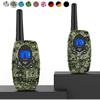 Topsung Two Way Radios Camping Accessories, M880 FRS Walkie Talkies for Adults Long Range with Mic LCD Screen/Portable Wakie-Talkie with 22 Channel for Children Hiking Hunting Fishing (Camo 2 in 1)