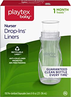 Playtex 10078300029172 Baby Nurser Drop-Ins Baby Bottle Disposable Liners, Closer to Breastfeeding, 8 Ounce 150 Count