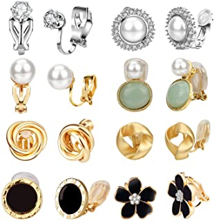 Clip Earrings for Women, Hicdaw 8 Pairs Clip on Earrings for Women Non Pierced Clip On Earrings for Rose Flower CZ Simulat...