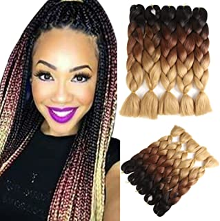 Two Tone Ombre Jumbo Braid Hair Extension 24 Inch 5Pcs/Package 100g/Pc Kanekalon Fiber For Twist Braiding Hair (24'' Black To Brown To Linen)