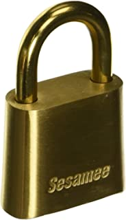 Sesamee K0436 4 Dial Bottom Resettable Combination Brass Padlock with 1-Inch Shackle and 10,000 Potential Combinations