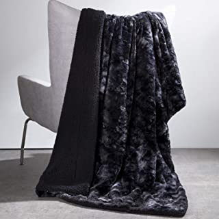 Bedsure Faux Fur Reversible Tie-dye Sherpa Throw Blanket for Sofa, Couch and Bed - Super Soft Fuzzy Fleece Blanket for Outdoor, Indoor, Camping, Gifts (50x60 inches, Black)