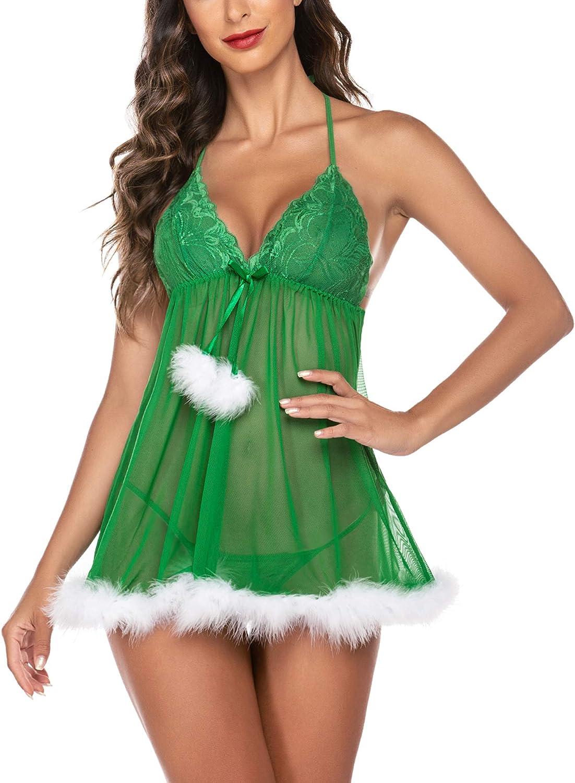 Avidlove Christmas Lingerie for Women Xmas Babydoll Teddy Lingerie with Garter Belts