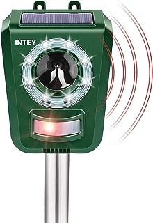 INTEY Répulsif Chats Exterieur, Répulsif à Ultrasons avec Batterie, Charge Solaire,Chargement USB Prévenir Les Chiens et L...