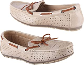 Beige leather casual women shoes