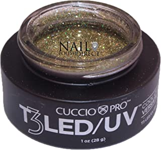 Cuccio T3 LED/UV Sparkle Gel For Gel Nails, 1oz - Gold Rush