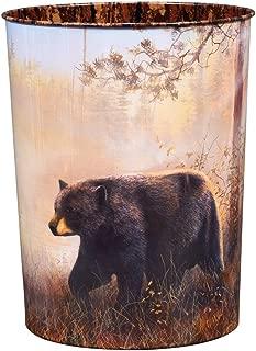Black Forest Décor Black Bear Scene Tin Waste Basket