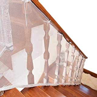 Stair Railing & Banister Guard Netting - 6.5ft L x 2.5ft H Guard Rail - Indoor & Outdoor, Balcony & Stairway Deck Railing Safety Net - Banister Stairwell Mesh - Baby & Child Safety; Pet Safety(6.5 FT)