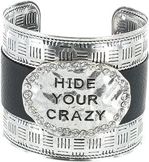 Shoppingbuyfaith Hide Your Crazy Womens Cuff Bracelet with Rhinestones Silver/Black